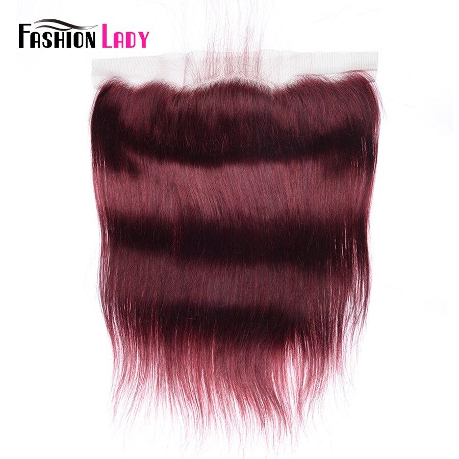 FASHION LADY Pre-Colored Human Hair Lace Frontal Closure 13x4 Lace Closure Ear To Ear Lace Closure 99J Remy Hair
