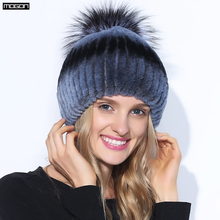 Sombrero de piel de conejo Rex de invierno para mujeres con pompones de  zorro Top sombreros de punto gorros 2018 nueva marca Cau. 34080bbfc52