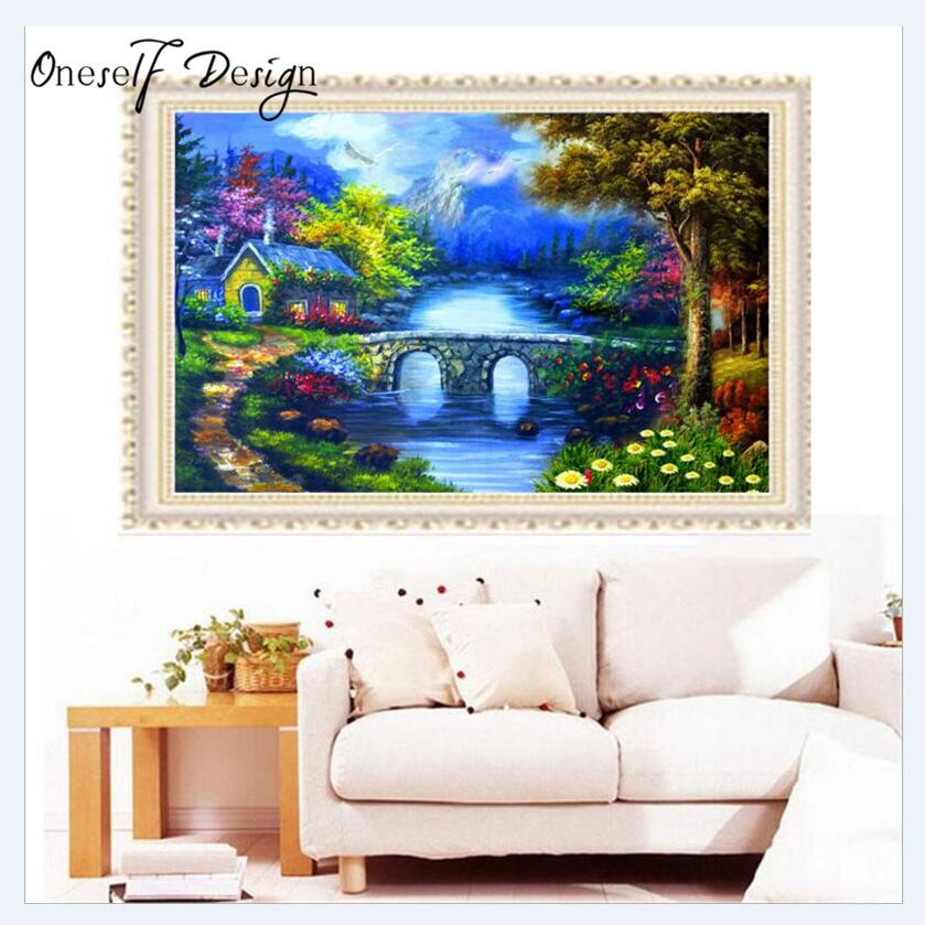 Christmas European Style Dream House Diy Diamond Painting Round Drill Rhinestone Cross Stitch Crafts Home Decor Wall Sticker