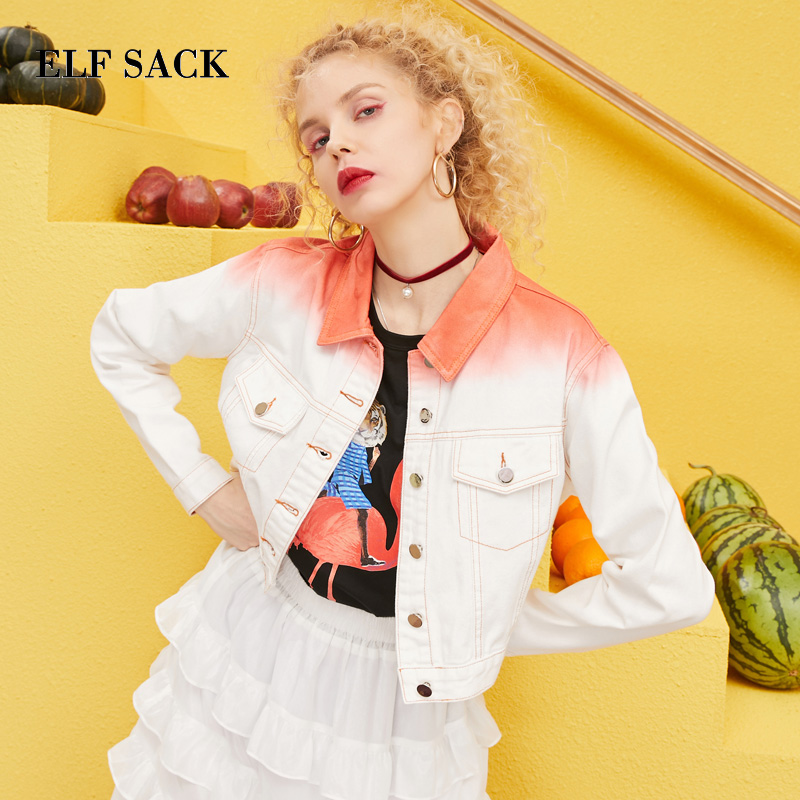 ELF SACK 2019 Spring Woman Jackets Patchwork Single Breasted Full Women Cotton Outerwear Coats Oversized Coats