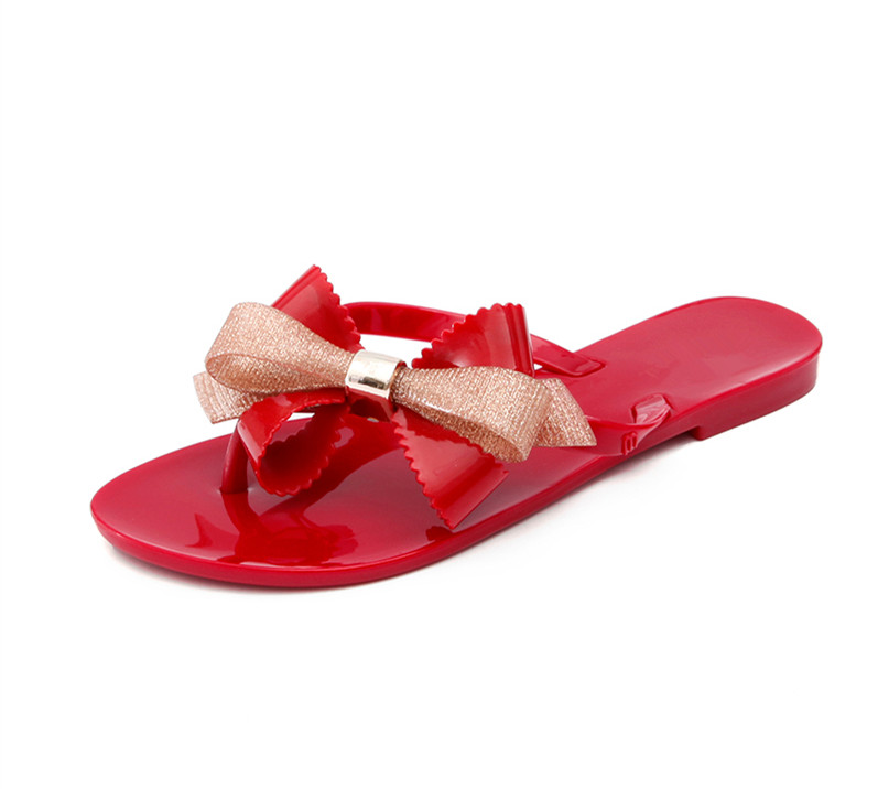 90aacacfaf5 US $17.11 14% OFF|BEYARNE Fashion woman jelly beach sandals lady flip flops  flats rain shoes women summer Slippers black white pink 36 41 green 39-in  ...