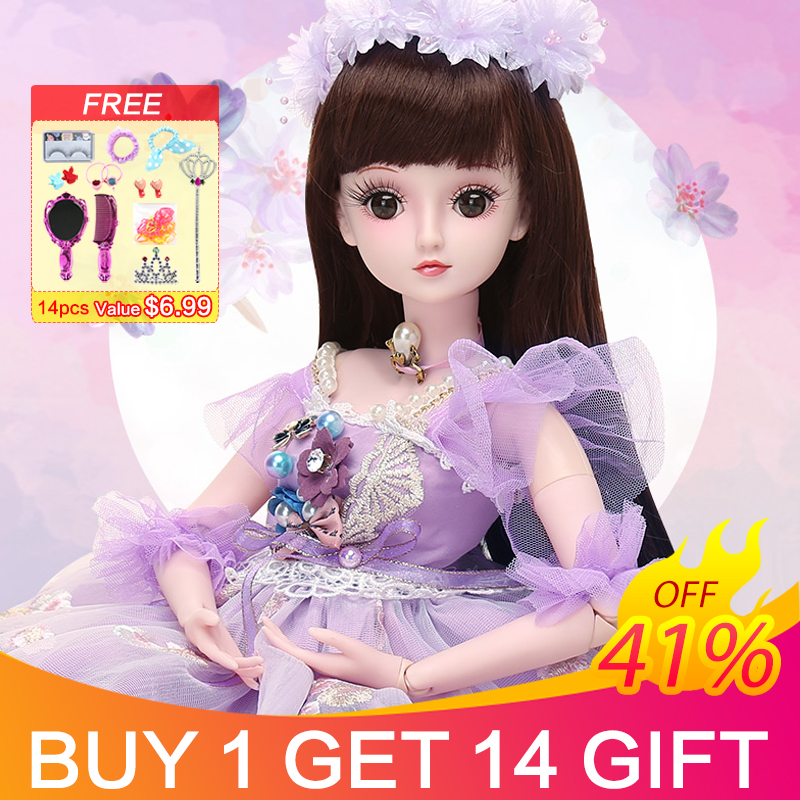 UCanaan BJD Dolls with 19 Ball Joints Clothes Outfit Shoes Wig Hair Makeup for Girls Gift