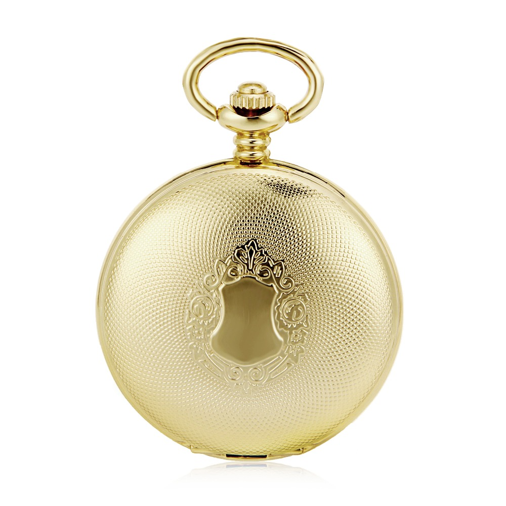 Mens pocket watches with chain images mens gold pocket watches gifts - Mechanical Automatic Self Wind Round Gold Shield Pendant Roman Number Pocket Watch W Chain