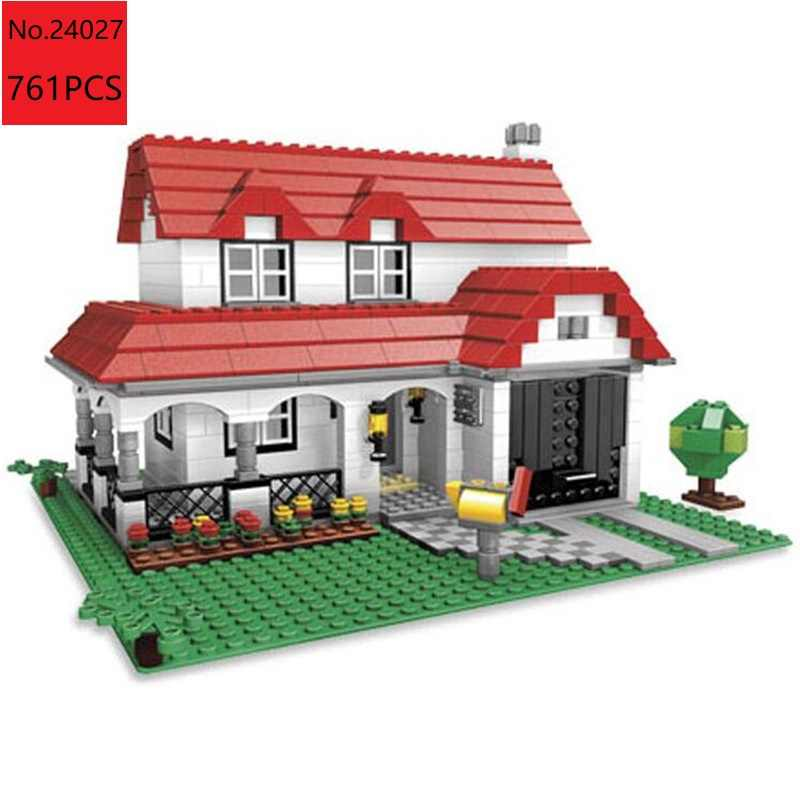 brand 24027 Creative Series Castle the American Style House DIY Set Model Building Blocks Bricks Children Toys Gifts