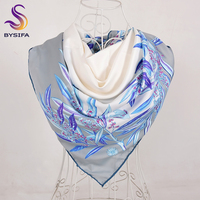 [BYSIFA] New Brand Silk   Scarf   Shawl Women 2018 Fashion Grey White Leaves Pattern Square   Scarves     Wraps   Autumn Winter Head   Scarves