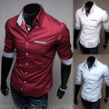 Free Shipping ! 2015 spring New Fashion Casual slim fit long-sleeved men's dress shirts Korean Leisure styles shirt M-XXXL C14
