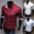 Frete grátis! 2015 nova moda Casual slim fit de manga comprida camisas de vestido dos homens coreano estilos lazer M-XXXL C14