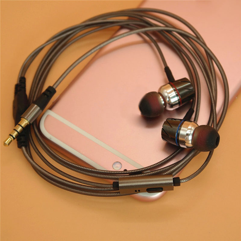 DIY Earphone Audio Cable with Microphone Semi-finished aluminum foil metal gray cables Repair Replacement Headphone Wire AA0190