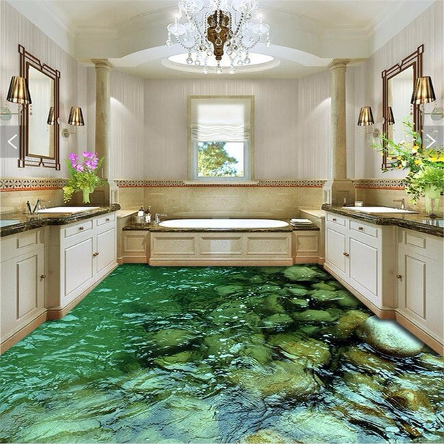 Beibehang peinture au sol paysage naturel pierre eau étanche salle ...