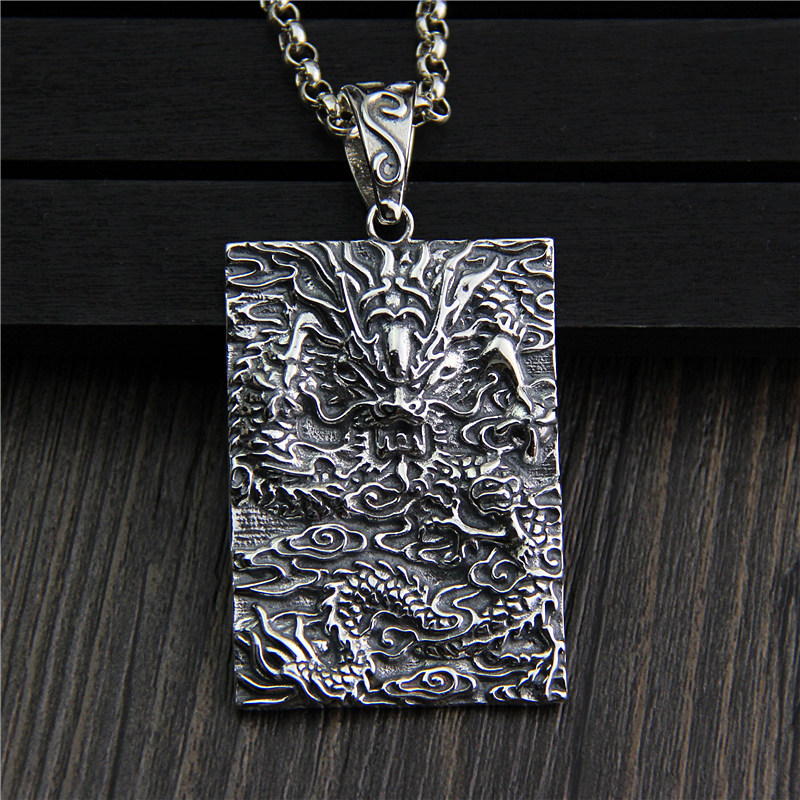 C&R Real 925 Sterling Silver pendant Necklace Retro men's rectangle dragon letter Chinese pendant Thai Silver Fine Jewelry c&r real 925 sterling silver necklace retro gold horn evil personalized pendant thai silver amulet fine jewelry