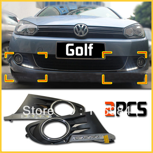 2pcs For 2009~12 Volkswagen VW Golf 6 DRL LED Daytime Running Lights with Fog Light Cover