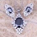 Mirándolo Negro Creado Zafiro Blanco CZ 925 Pendientes de Plata Colgante de Collar de Sistemas de La Joyería S0801