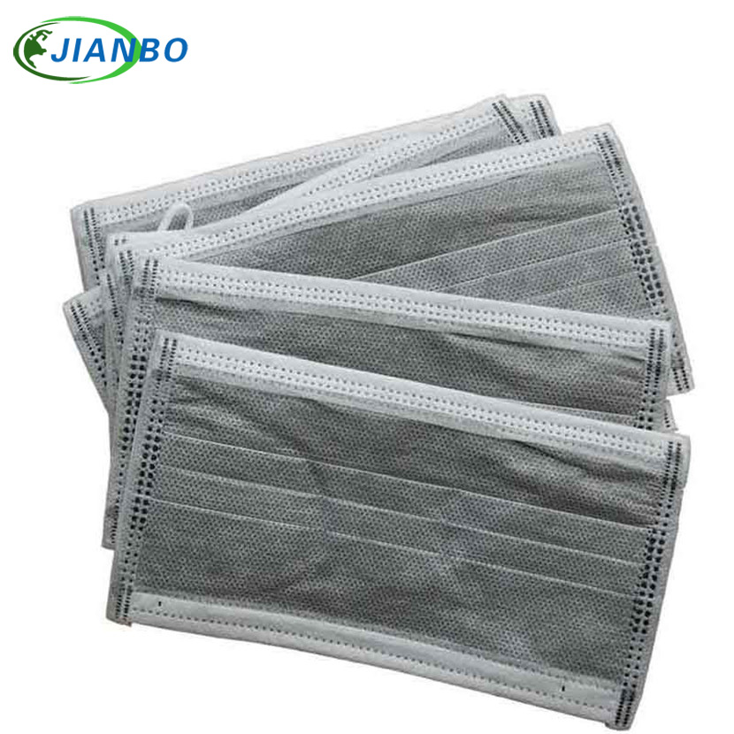50PCS 4 Filter Layer NonWoven Black Activated Carbon Disposable Masks Medical Mouth Flu Anti Dust Face Mask Organic Gas For Work