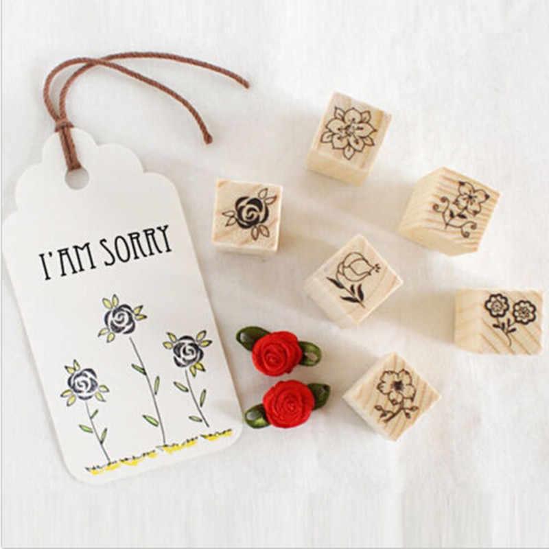 2019 Baru Kualitas Tinggi 12 Pcs Kotak Korek Api Stamp DIY Stempel Karet Stamp Retro Flowe Bunga dan Grafis Hadiah Lucu