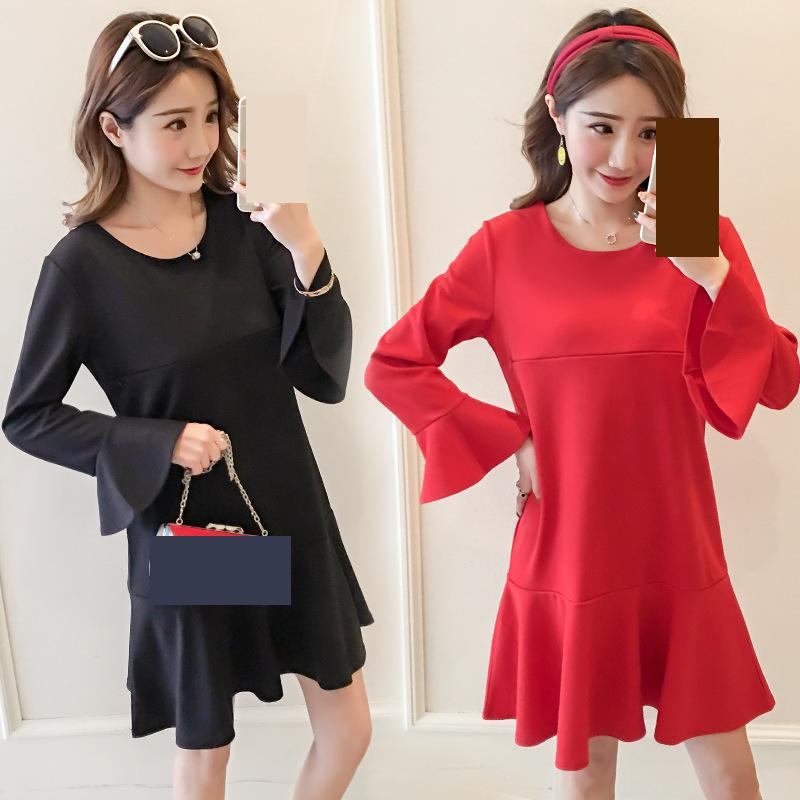 Pregnant Women Dresses 2018 New Spring Red Black Solid Full Sleeves Large Loose Female Clothes Maternity Dress Clothing 5mc015