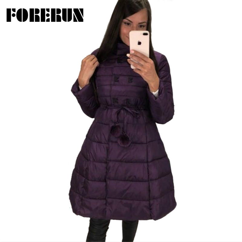 FORERUN Long Jacket Women   Parka   2018 Skirt Jacket Slim Waist Pompom Slashes Winter Cotton Padded Coat 3 Colors