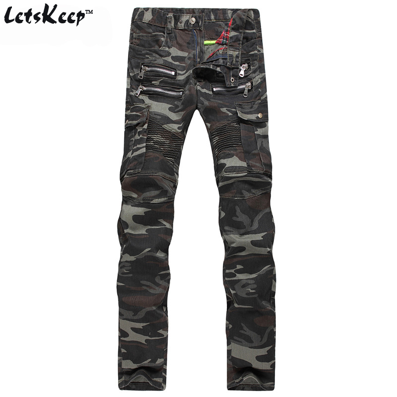 ФОТО 2016 Letskeep New Mens Camouflage biker denim jeans slim fit Motorcycle Camo Military jean stretch Double zipper hombre,MA130