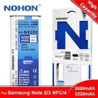 Original NOHON For Samsung Galaxy Note 2 3 4 Battery Note2 N7100 Note3 NFC N9000 Note4 N9100 N910X Real High Capacity Bateria