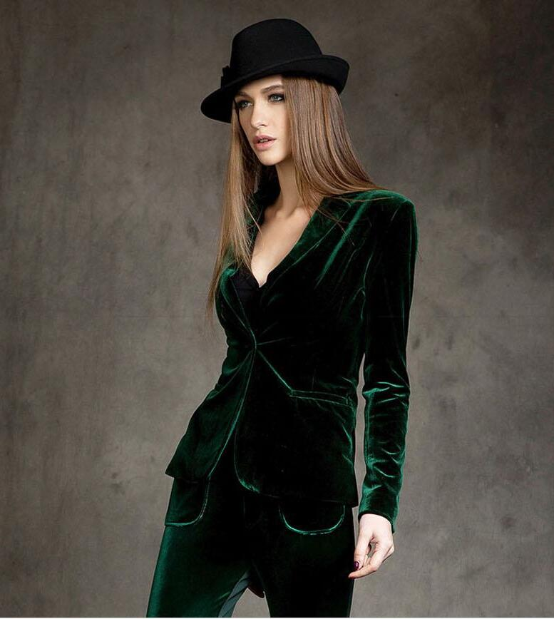 European station NEW autumn gold velvet suit jacket female Slim was thin European and American small