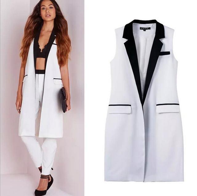 deecbbd738f8a2 2015 Autumn Summer fashion Womens white waistcoat vest female long  sleeveless blazer vest waistcoat women sleeveless long jacket