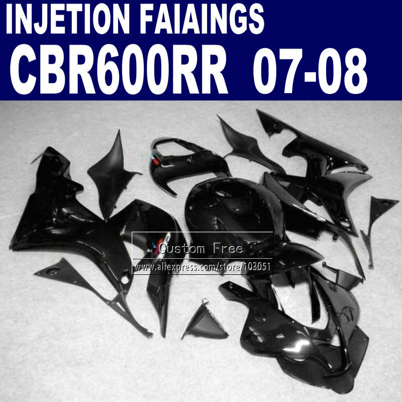 Custom Injection fairings kit for Honda 600 RR F5 fairing set 07 08 CBR600RR CBR 600RR 2007 2008 full black motorcycle body part