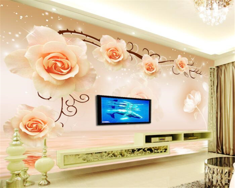 Beibehang Custom Photo Wallpaper Rose reflection 3D Mural wall paper For Living Room Wallpaper TV Background Home decoration