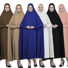 Full Cover Muslim Women Prayer Maxi Dress Long Hijab Arab Islamic Large Clothing Overhead Ramadan Garment Loose Robe