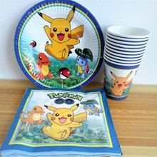 40pc/set Cup/Plate/Napkin Pikachu Party Supplies For Kid Event Birthday Decorations Favors