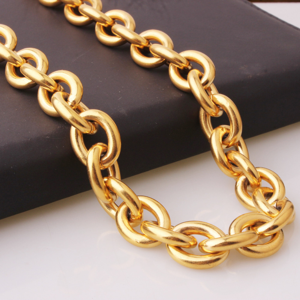 New Arrive Men Hip Hop Style Gold Tone Stainless Steel Rolo Chain Necklace Heavy Thick 15mm18-40 image