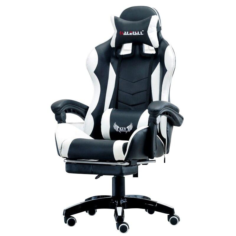 Cyber Games de corrida Couro Sintético Macio Cadeira Cadeira Do Computador Cibercafés Deitado Casa Assento Da Cadeira Do Escritório Com Apoio Para Os Pés