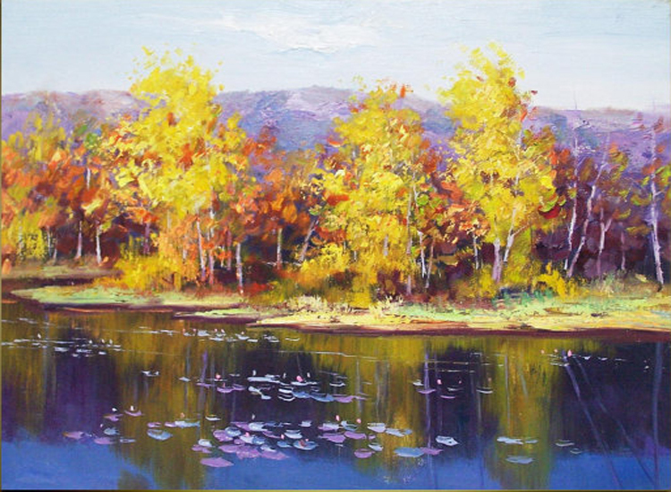 Professional Artist Supply High Quality Hand painted Beautiful Landscape Oil Painting On Canvas Beautiful Lake Oil Painting