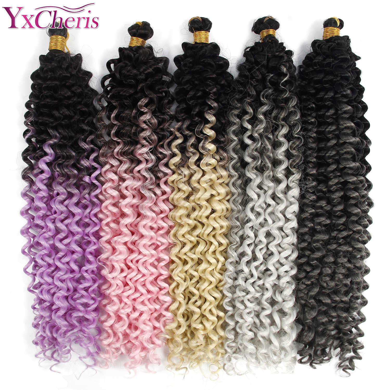 Synthetic Ombre Braiding Hair Extensions Water Wave Crochet Hair Blonde Pink Grey Hair Bundles