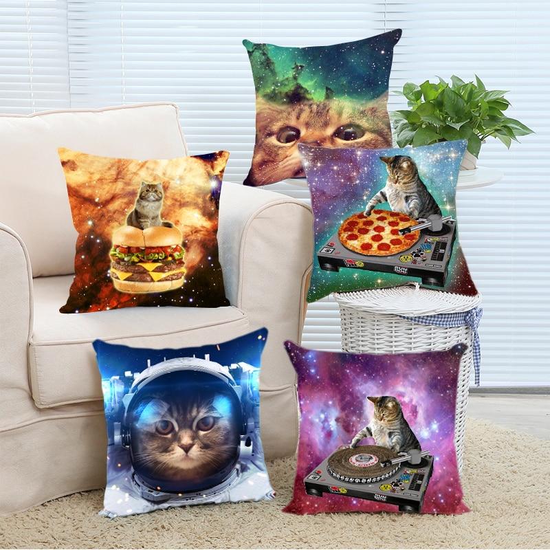 Top Sale Creative Hipster DJ Cat Pizza Galaxy Fantastic Design Zippered Pillowcase DIY Pillowslip Bedding Set Pillow Case Cover