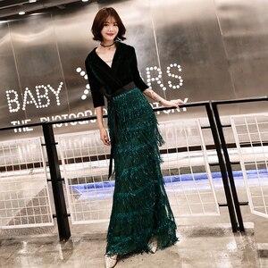 Image 4 - Wei yin zielone aksamitne suknie wieczorowe długa syrenka dekolt formalna sukienka cekinami Abendkleider damska suknia de soiree longue WY1262