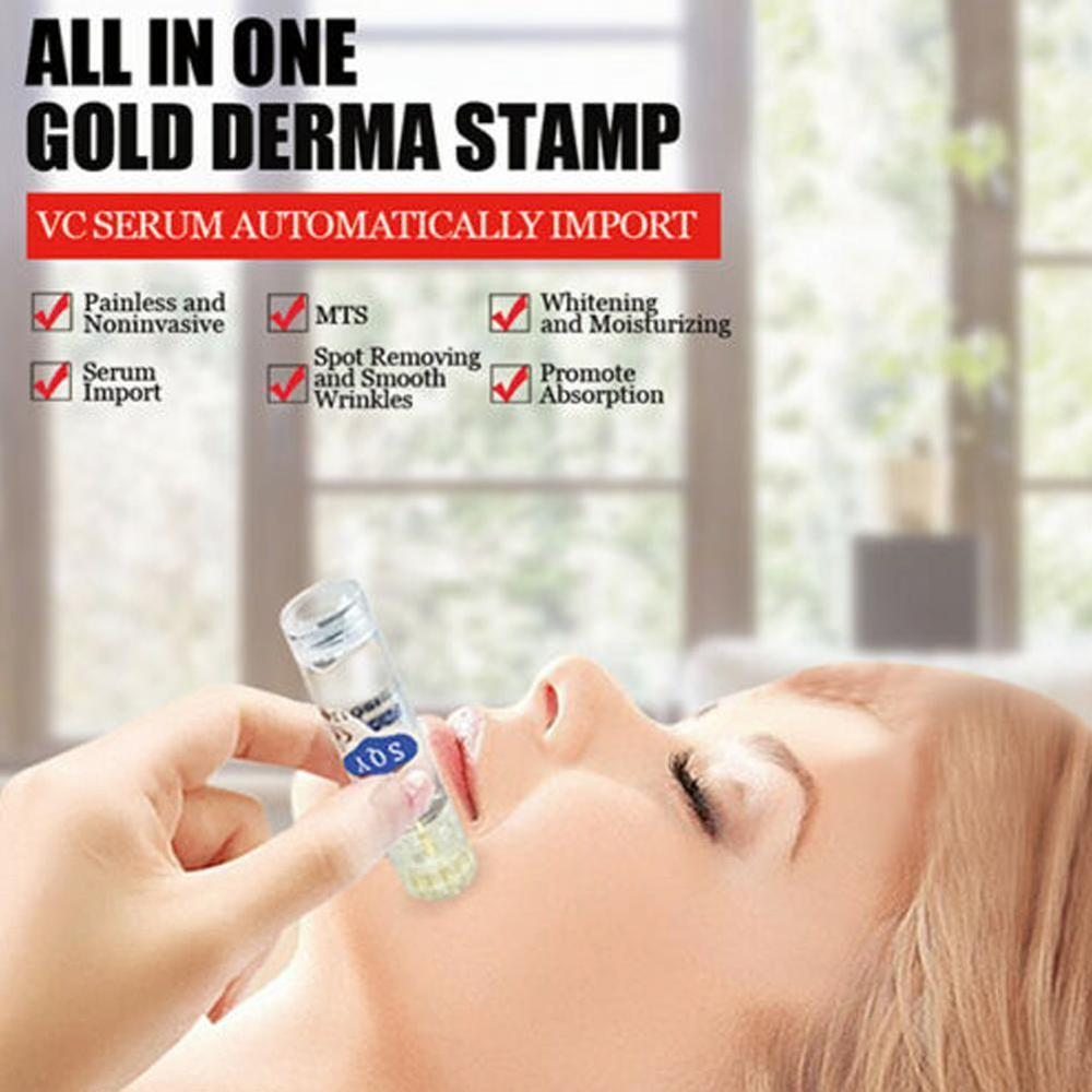 Gold Micro Needles Automatic Tips Roller With Gel Tube 7ml Skin Roller System Derma Stamp  0.25mm  Stamp Nanochip