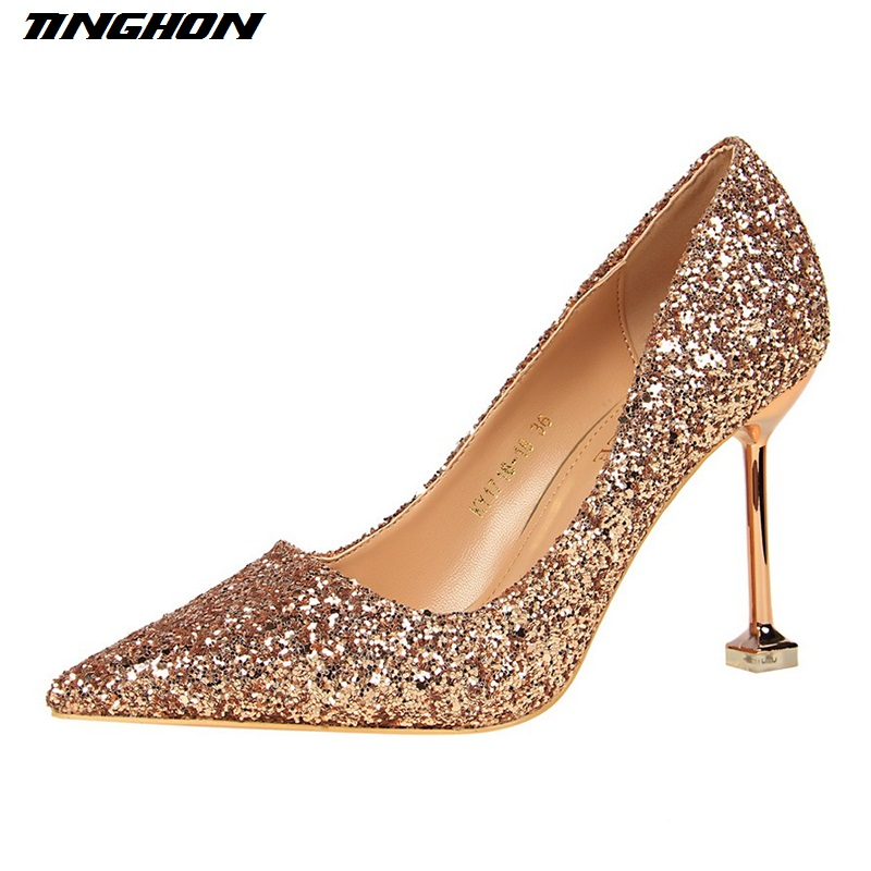 TINGHON Women Shoes Sexy Sequined Women's Glitter Pumps 9.5cm Super High Pointed Toe Thin Heels Shallow Gold Wedding Shoes