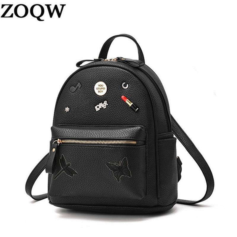 Zoqw New Fashion Pu A Leather Shoulder Bags Women's Backpacks School Backpack For Teenage Girls Female Bags Lwl013