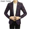 Homens Blazer frete grátis 2017 Nova Coreano Slim Fit Mens Blazer Xadrez de Alta Qualidade Primavera Homens Casuais Jaqueta Blazer 112hfx