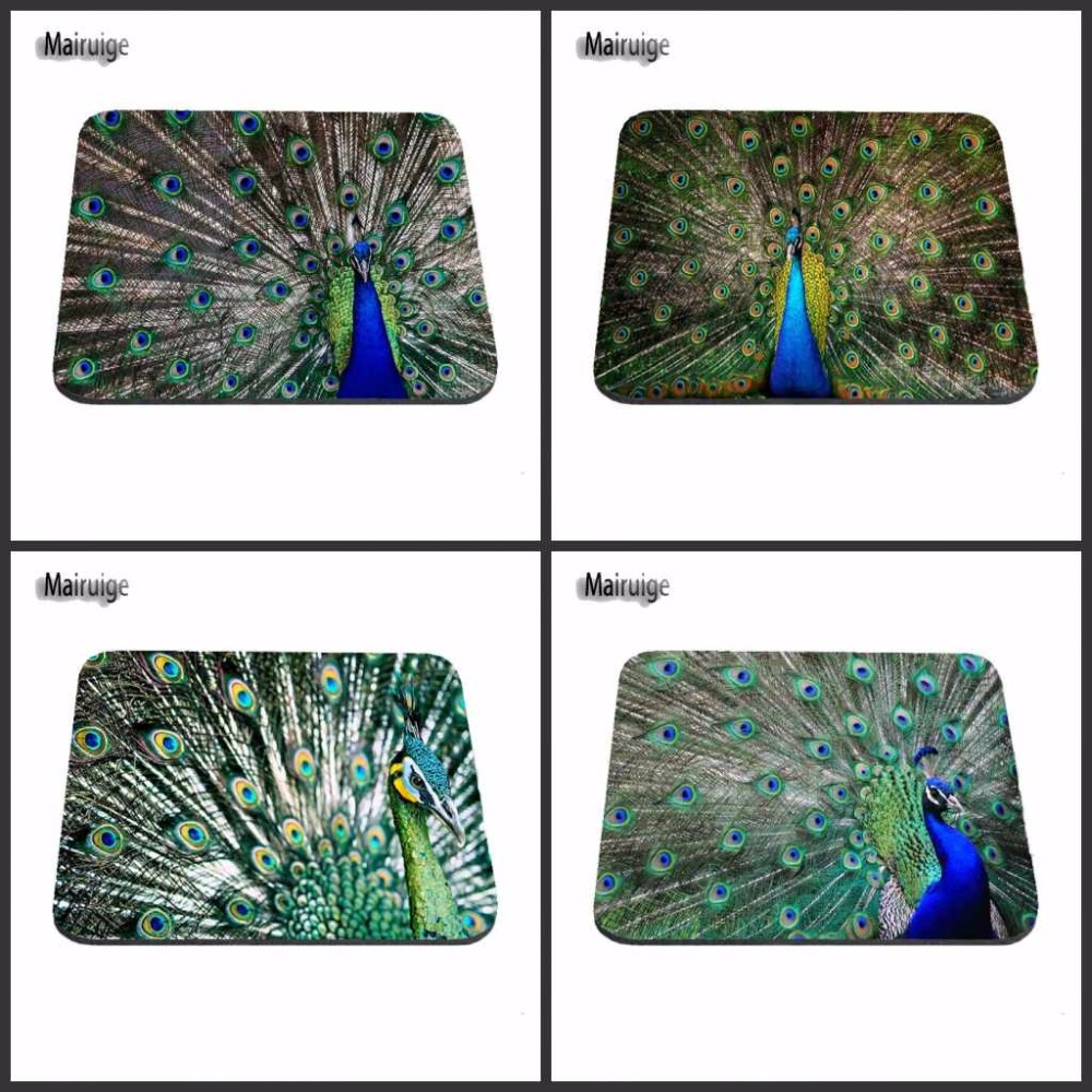 Customization Beautiful High Quality Peacock Plume Animal Rubber Anti-slip Mouse Pads For Pc Computer Laptop Notbook Aming Mat