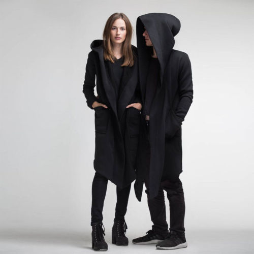 Fashion Autumn Winter Warm Unisex Soft Long Sleeve Solid Color Hooded Wool Blends Coat Cloak Cosplay Lovers Costume