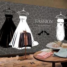 Vintage personalidad vestido blanco y negro zapatos de tacón alto tienda de ropa Fondo murales de papel pintado para Decoración