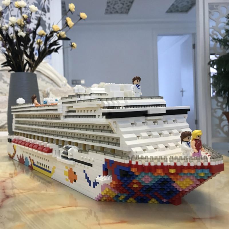 ZRK bateau de croisière de luxe grand bateau blanc modèle 3D bricolage diamant Mini bâtiment Micro petits blocs briques assemblage jouet sans boîte-in Blocs from Jeux et loisirs    3