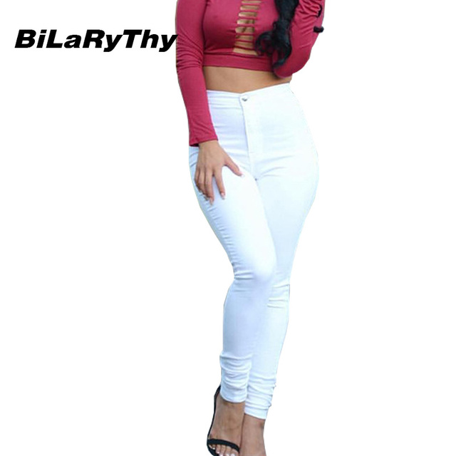 BiLaRyThy Casual Women Solid White Jeans Skinny Stretch Denim Slim High Waist Trousers Jeans Pants