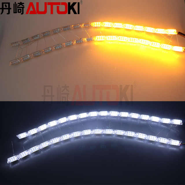 Autoki Universal Running Horse Dual Color LED Flexible DRL with Turn  Light White + Yellow Flowing Color