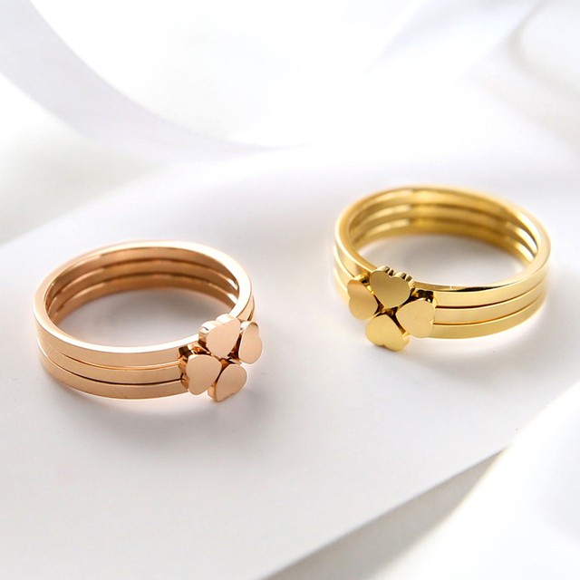 YUN RUO 2018 Three In One Flower Rings Rose Gold Color Ladys