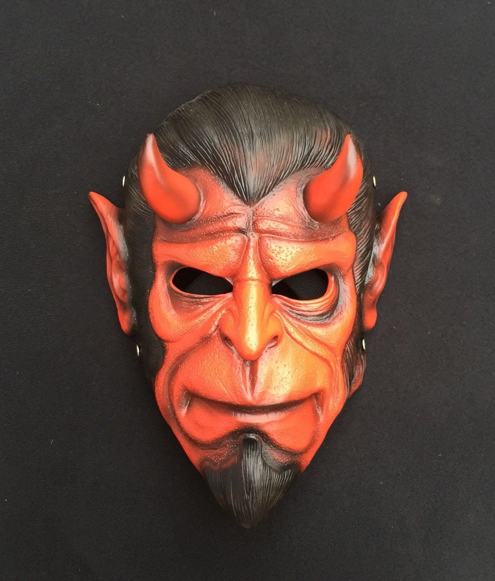 KAWEIDA High Quality Hellboy Masks Resin Horror Movie Cosplay Halloween Masquerade Ball Grimace Demon Masks