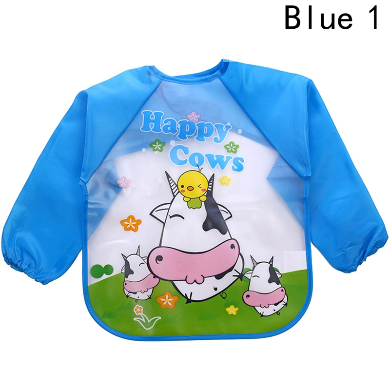2018Hot New Children Bib Burp Baby Todders Waterproof Long Sleeve Art Smock Bibs Apron Cartoon Soft Feeding baberos bavoir cloth