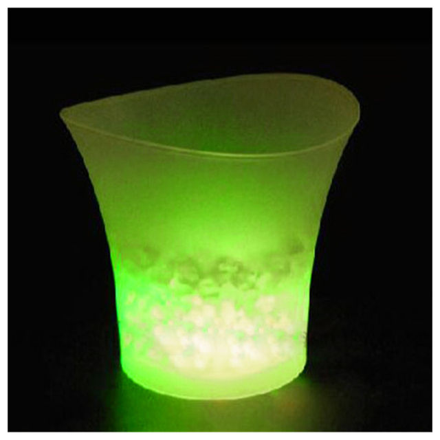 UESH-5L Volume Plastic Led Ice Bucket Color Changing Bars Nightclubs LED Light Up Ice Bucket Champagne Beer Bucket (red)
