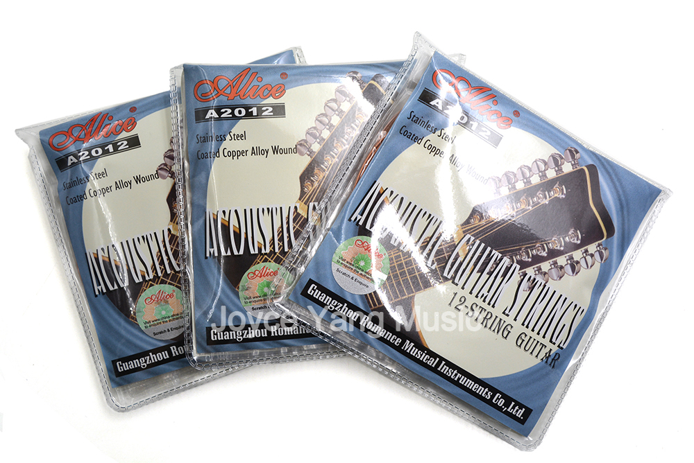 3 Sets of Alice A2012 12-String Acoustic Guitar Strings Stainless Steel Coated Copper Wound 1st-12th Strings Free Shipping