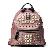 Лидер продаж модные женские туфли Рюкзак Перл заклепки мини Mochila высокое качество мини-рюкзак для девочек-подростков школьный рюкзак